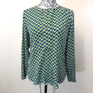 hinge fox print blouse XS